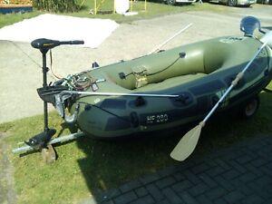 schlauchboot mit elektromotor- Minkota- + Motorspiegel u. 50 Ampere Baterie