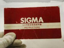 Sigma Lens guide Instructions 7217080 vintage