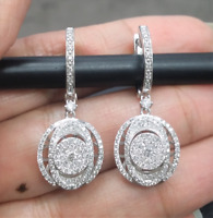Deal! 1.10CT NATURAL ROUND DIAMOND DANGLE LADIES EARRING 14K WHITE GOLD.