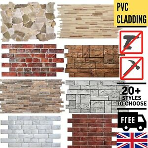 Stone Brick Effect PVC Plastic Wall Covering Panels Decorative Cladding Tiles ✅