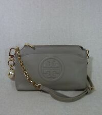 NWT Tory Burch French Gray Bombe Chain Cross Body Bag + Pearl Logo Keyfob $470