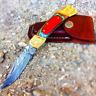 "7"" Hand Made Damascus Steel Multi Color wood Handle Knife & Leather Sheath -"