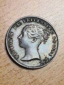 1838 Queen Victoria Young Head Silver Fourpence Groat 4d Coin High Grade