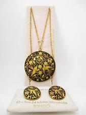 Vintage 24k GF Plated Damasquinado de Oro Matching Pendant Necklace & Earrings