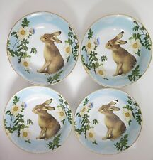 Williams Sonoma Spring Garden China Bunny Cereal Soup Bowls Set of Four NEW