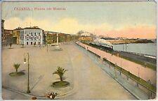 CARTOLINA d'Epoca - CATANIA Città - PIAZZA MARTIRI 1910 - TRENO!