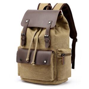 """Men Leather Canvas Rucksack Hiking Backpack Travel 15"""" Laptop School Bag Satchel"""