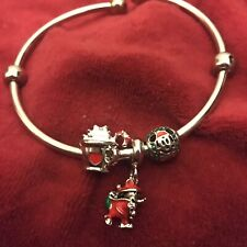 Mickey Mouse Charm Bracelet Silver Secret Santa Christmas Candy Cane Disney Xmas