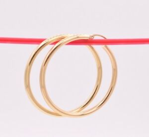 """3mm X 45mm 1 3/4"""" Large Plain All Shiny Hoop Earrings REAL 14K Yellow Gold 3.7gr"""