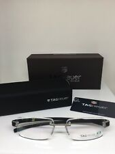 New Tag Heuer Eyeglasses 7106 C. 001 Black & Silver Tag Heuer Rimless Eyeglasses