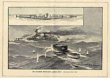 Willy Stöwer ( Das franz.U-Boot Gustave Zéde ) Militärische Graphik von 1899