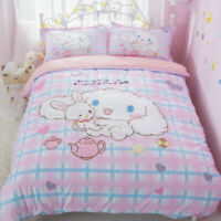 Japan Anime Cute Cinnamoroll Cotton Bed Sheet Quilt Cover Duvet Covers 3PCS 4PCS