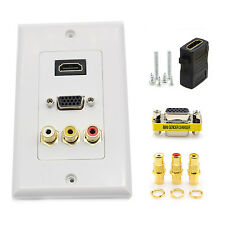 New 5-Ports HDMI VGA 3RCA AV Composite Audio Video HDTV Wall Face Plate Panel