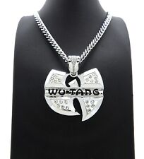 """HIP HOP ICED SILVER PT WU TANG LARGE PENDANT & 6mm 24"""" CUBAN LINK CHAIN NECKLACE"""