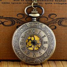 Quartz Pendant Necklace Chain Gift Vintage Steampunk Pocket Watch Golden Dial