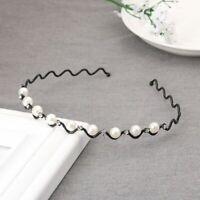 Bling Pearl Crystal Wave Hairband Black Silver Metal for Women Headwear
