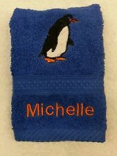 A PERSONALISED PENGUIN FACE CLOTH NAME XMAS  GIFT CHRISTMAS EMBROIDERED PRESENT