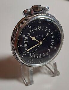 1941 HAMILTON Military 4992B Pocket Watch, 16s, 22j, WWII, 24 hour Black Dial