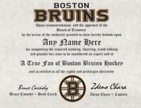 BOSTON BRUINS TRUE FAN HOCKEY~ FAN CERTIFICATE~ DIPLOMA ~ GIFT~ MAN CAVE