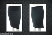 New Size 16 - 26 Stretch Black Knee Length Skirt Elastic Waist Womens *LICK*