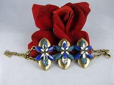 Gorgeous Jewel Mint Blue Rhinestone Gold tone Bracelet CAT RESCUE
