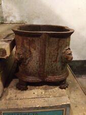Antique Cast Iron Lions Faces Garden Urn