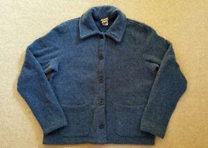 Womens Jacket-L.L. BEAN-blue tweedy cotton blend buttondown w/pockets ls-S