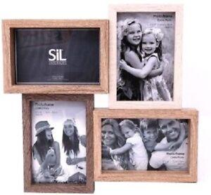 Wooden Quad Photo Frame Lanscape & Portrait Picture Image Display Decor 31cm