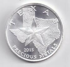 2015 Uncirculated Silver Texas Round. 1-Troy oz. .9999 Silver