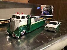 COE car hauler transport sliding FLATBED / 1960 FORD STARLINER GREEN AND WHITE