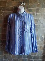 zara blue white stripped top shirt blouse size M fits Uk 10 -12