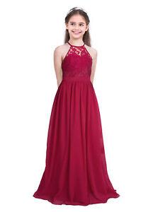 UK Flower Girl Dress Chiffon Long Dress Princess Wedding Bridesmaid Formal Gown