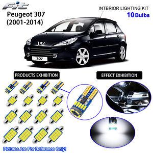 10 Blubs LED Interior Dome Light Kit 6000K Cool White For 2001-2014 Peugeot 307