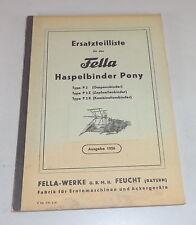 Catalogo Ricambi Fella Haspelbinder-Pony Tipo P2/P2 Z/P2 K Stato 1956
