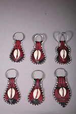 artisanat africain 6 portes clés en cuir et cauri