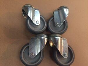 """4  x 100mm (4"""") bolthole castors, grey rubber wheel"""