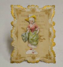 Antique Greeting Card & Stand Ornate 3D 1900 Victorian Blessings Get Well Rare