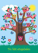 8 divertidos Buhos - tarjetas de invitación para cumpleaños infantiles/
