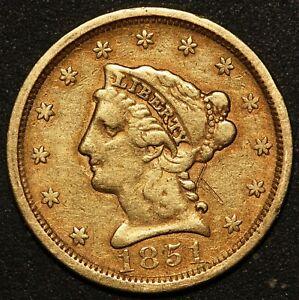1851 U.S. Liberty Head $2.50 Quarter Eagle Gold Coin