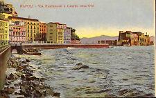 postcard of napoli - via partenope e castel dell 'ovo . early 1900s