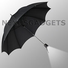 BLACK Umbrella LED Flashlight Handle Flash Light Folding Parasol Rain Emergency