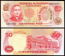 ABL Philippines 50 Pesos FANCY Serial No KM505050 REPEATER Banknote