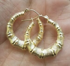 GOLD Bamboo HOOP EARRING Round 10k real yellow 2.7g 25mm