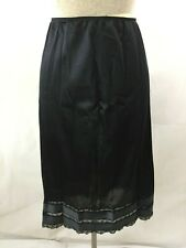 Sears half slip Size S black womens lace below knee back slit vintage