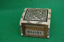 DECORATIVELY INLAID HINGED WOODEN BOX  FINISHED  IN VARNISH