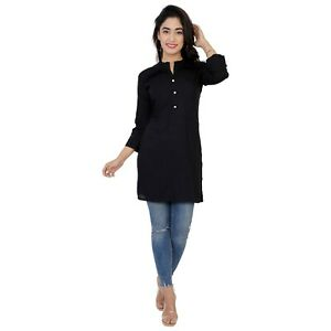 Women Kurti Kurta Indian Bollywood Ethnic Black Designer Top Tunic Cotton Dress