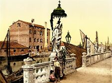Vintage photographie couleur teinte Madonna statue Chioggia Italie Poster lv4909