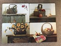 4 Deluxe Placemats Cork Backed Bountiful Baskets Design 12x16