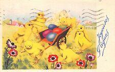 AK Ostern Kücken mit Schubkarre und Ostereier Postkarte 1948 Nice Frankreich