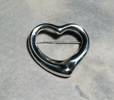 solid silver T heart pin